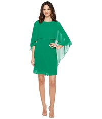 Vince Camuto Dress With Bateau Neckline And Cape Back Overlay Emerald Women's Dress Green