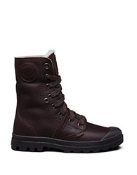 Palladium Pallabrouse Leather Lace Up Boots Brown