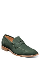Stacy Adams Colfax Apron Toe Penny Loafer Dark Green Suede