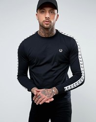 Fred Perry Slim Fit Sports Authentic Taped Long Sleeve T Shirt In Black Black