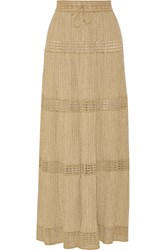 M Missoni Metallic Crochet Knit Maxi Skirt