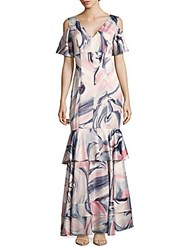 Kay Unger Swirl Print Cold Shoulder Tiered Gown White Multi