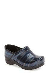 Dansko Women's 'Professional' Patent Leather Clog Blue Stripe Patent Leather