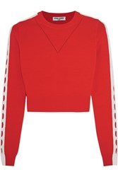 Opening Ceremony Cropped Cutout Stretch Knit Top Bright Orange
