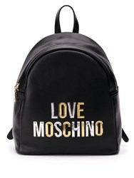 Love Moschino Laminated Logo Backpack Black