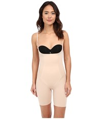 Spanx Thinstincts Open Bust Mid Thigh Bodysuit Soft Nude Women's Jumpsuit And Rompers One Piece Beige