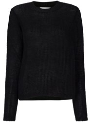 Essentiel Antwerp Classic Knitted Sweater Mohair Polyamide Wool Polyester L Black