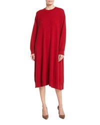 Eskandar Round Neck Long Sleeve A Line Cashmere Dress Red