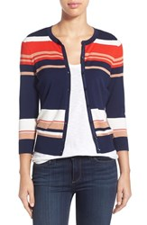 Women's Halogen Three Quarter Sleeve Cardigan Navy Red Play Stripe