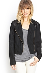 Forever 21 Faux Leather And Linen Moto Jacket