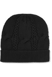 Duffy Cable Knit Merino Wool Beanie Black
