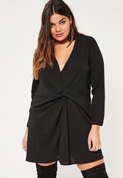 Missguided Plus Size Black Knot Oversized Dress