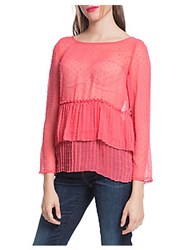 Plenty By Tracy Reese Pleated See Through Top Coral