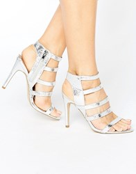 New Look Metallic Strappy Heeled Sandal Silver