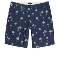 River Island Mens Blue Palm Tree Print Chino Shorts