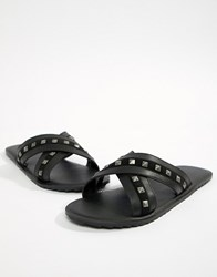 Asos Design Sandals In Black With Studs
