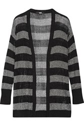 Karl Lagerfeld Striped Metallic Stretch Knit Cardigan Black