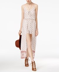 American Rag Juniors' Printed Lace Up Maxi Overlay Romper Only At Macy's Snow White