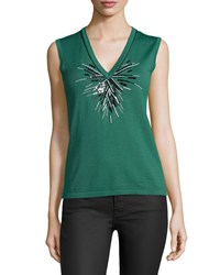 Carolina Herrera V Neck Embellished Tank Green Bay