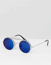 Spitfire Lennon Flip Up Round Sunglasses With Blue Mirror Lens Gold