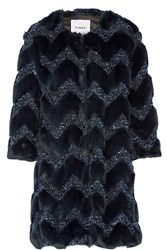 Ainea Metallic Boucle And Faux Fur Coat Blue