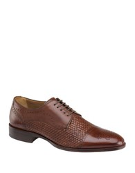 Johnston And Murphy Textured Leather Oxfords Mahogany