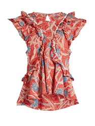 Isabel Marant Unice Floral Print Cotton Top Red Print
