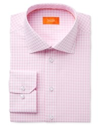 Tallia Men's Fitted Gingham Printed Ground Dress Shirt Pink