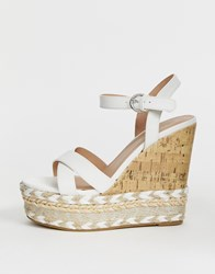 New Look Cork And Espadrille Wedges In White