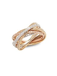 Effy Diamond And 14K White Yellow And Rose Gold Ring
