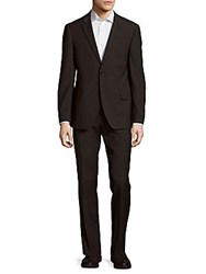Tommy Hilfiger Regular Fit Hairline Wool Blend Suit Charcoal