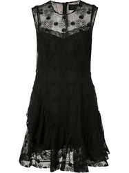Simone Rocha Sheer Floral Embroidered Dress Black