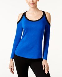 Thalia Sodi Colorblocked Cold Shoulder Top Only At Macy's Lazulite