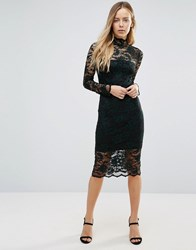 Ganni Flynn Lace Sheer Insert Midi Dress Botanical Garden Bla Green