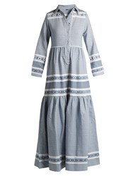 Dodo Bar Or Zuriel Tassel Embellished Cotton Maxi Shirtdress Blue White