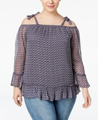 Lucky Brand Trendy Plus Size Printed Off The Shoulder Top Blue