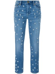 Tory Burch Embroidered Jeans Blue