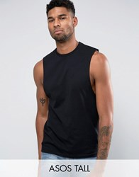 Asos Tall Sleeveless T Shirt With Dropped Armhole In Black Black