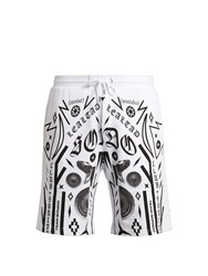 Marcelo Burlon Rico Multi Motif Printed Cotton Shorts White Multi
