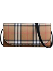 Burberry Detachable Strap Vintage Check Leather Wallet Nude And Neutrals