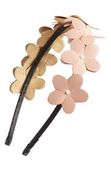 Cara Faux Leather Flower Headband Coral Light Pink