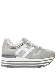 Hogan 70Mm Maxi 222 Glitter And Leather Sneakers Silver