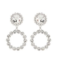 Alessandra Rich Crystal Clip On Earrings White