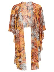 Gina Bacconi Abstract Printed Chiffon Shawl Gold