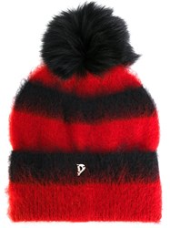 Dondup Fluffy Striped Beanie Women Polyamide Mohair Wool One Size Red