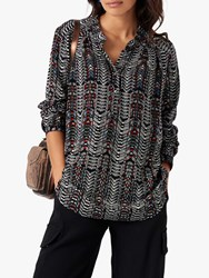 Brora Tribal Print Tunic Top Olive Spice