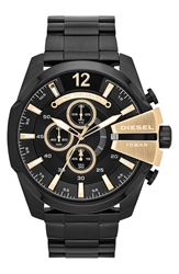 Diesel 'Mega Chief' Bracelet Watch 51Mm Black Gold
