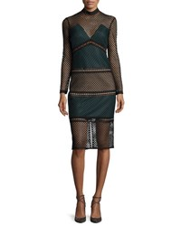 Self Portrait Fitted Mock Neck Lace Midi Dress Forest Green