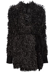 Lost And Found Textured Belted Cardi Coat Black
