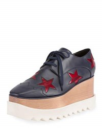 Stella Mccartney Elyse Star Platform Oxford Blue Red Blue Red